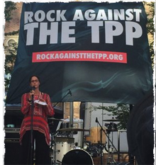 Dana Geffner Speaking at Rock Against The TPP in Portland OR.