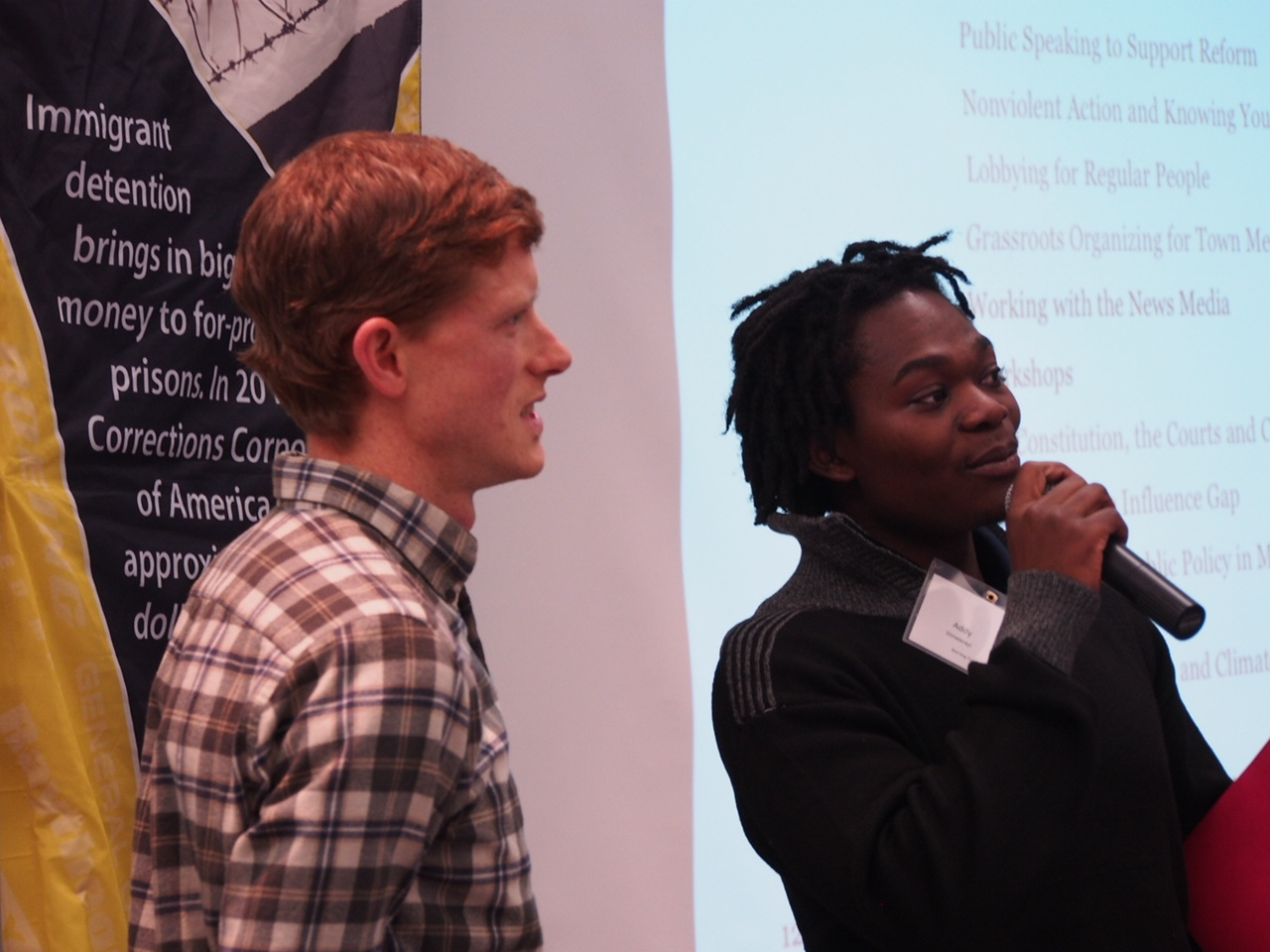 Dan Weeks and Addy Simwerayi at Democracy in Action conference